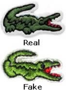 e11abda97 1) The Lacoste Crocodile Patch - Lacoste s famous trademark symbol is its  Lacoste crocodile logo patch. This is one of the easiest way to spot a fake.
